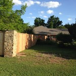 Wood Fence With Stone Column